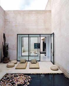 Private, enclosed pool; concrete walls