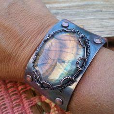 Statement Labradorite Leather Bracelet fits 7 or 8 in wrist.