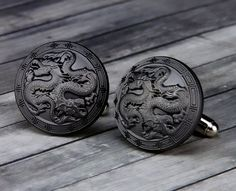 Double Dragon Cufflinks Double Dragon Cuff by TheSonderShoppe