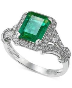 Brasilica by EFFY® Emerald (2-1/5 ct. t.w.) and Diamond (1/3 ct. t.w.) Ring in 14k White Gold | macys.com