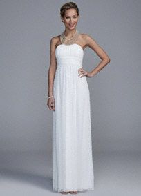 You will draw unexpected appeal in this ultra-feminine wedding dress!  Sleeveless mesh bodice is adorned with pearl necklace detail for a touch of glam.  Long soft A-line silhouette is comfortable and flows with beautiful movement.  Fully lined. Back zip. Imported polyester. Spot clean.  To protect your dress, try our Non Woven Garment Bag.