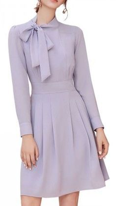 Orchid Tie Neck Ruched Front Mini Dress for women 2017 sale - Dresses for Work Women's Dresses, Cute Dresses, Beautiful Dresses, Casual Dresses, Fashion Dresses, Fashion Shorts, Office Dresses, Event Dresses, Party Dresses