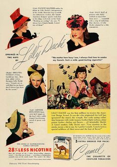 A 1940s Camel cigarette ad featuring Lilly Dache hats. #vintage #hats #1940s