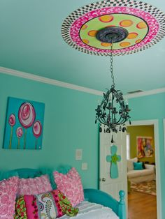 Remarkable Turquoise Girls Room Decorating Ideas : Deluxe Turquoise Girls Room Using Antique Pendant Lamp Over Turquoise Bed With White Bed Cover And Pink Pillows Completed With White Door And Turquoise Wall