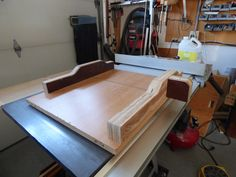 Table Saw Sled - made from an old desk top and scrap wood. Probably made it too robust.