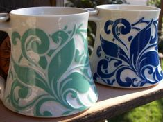 Sgraffito. Interesting way to make a set by changing colors but using the same design. I like it.