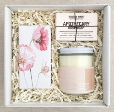 The Cosmos: The English Garden candle by Teak & Twine with blush & silver foil label Shortbread cookies wrapped in Cosmos print Apothecary Rose soap by Hudson Made NY Perfect gift for Birthdays, Valentines Day, Mothers Day or just because!
