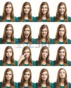 gesichtsausdruck: Multiple Collage aus einer schönen jungen Frau mit verschiedenen Ausdrücken