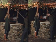 """They make a """"wish"""" in the well throw their pennies in and he pulls up a sign that says: """"my wish: will you marry me? Christmas Engagement Photos, Christmas Proposal, Christmas Photos, Christmas Eve, Holiday, Engagement Stories, Wedding Engagement, Engagement Ideas, Wedding Rings"""