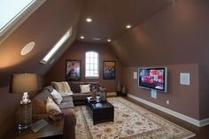 How important is the TV room at home? TV room or family room is a place where all family members come together and spend time together. Therefore, if your house still uses… Continue Reading → Bonus Room Design, Attic Design, Design Room, Theatre Design, Interior Design, Room Interior, Attic Spaces, Attic Rooms, Attic Bathroom