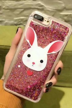 Pink glitter rabbit liquid iphone 6, iphone 6 plus, iphone 7 & iphone 7 plus protective case for cute teen girls.