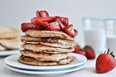 Brown butter gives these roasted strawberry pancakes a richer flavor. #NationalPancakeDay