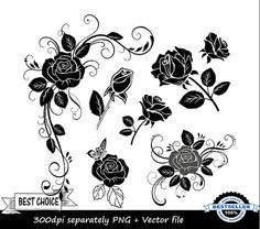 No.1 Black rose clipart - flower clipart -floral - separately PNG + vector - instant download - commercial and personal use