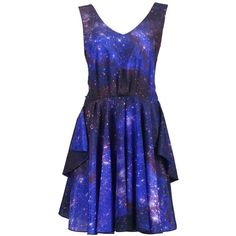 Romwe Women's Galaxy Printed Backless Shift Dress (2.940 RUB) ❤ liked on Polyvore featuring dresses, vestidos, galaxy, short dresses, blue, blue shift dress, blue galaxy dress, short backless dresses and cosmic dress
