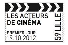 """Oblitération Premier Jour """"acteurs de cinéma"""" personalisée avec Lille © Phil@poste, La Poste, DR."""