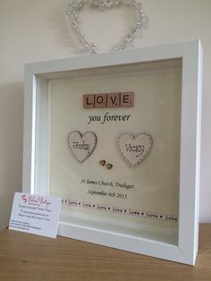 Wedding engagement scrabble frame by MyBelovedBoutique on Etsy
