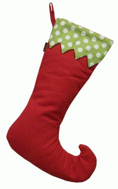 Elf Stocking Green with White Pok-a-dots