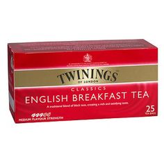Twinnings is an English marketer of tea. It contains 25 bags in a regular box. Different colors and images show different flavors and ingredients. Colorful packaging outside is eye attracting.