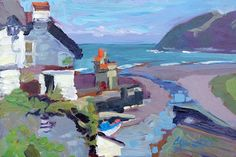 """"""" Rising Sun"""" - original oil painting of Lynmouth Harbour by steven Pleydell-Pearce 9 x 6 inches £400 Sold"""