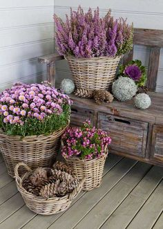 Wicker Baskets with The Monochromatic Tone of Purple