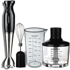 Ovente 2  Speed 300 Watts 3in1 Immersion Hand Blender with Beaker Whisk Attachment and Food Chopper Robust Stainless Steel Black HS585B -- Want additional info? Click on the image-affiliate link.