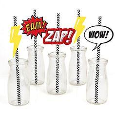 BAM! Superhero - Baby Shower Do It Yourself Straw Decor Kit - Set of 24