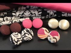 Making fabric-covered button earrings using a special kit
