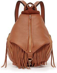 Gorgeous leather fringe backpack. Gold zipper detail with adjustable straps. Rebecca Minkoff Fringe Julian Backpack