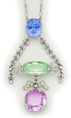 Edwardian Sapphire, tourmaline, beryl, diamond and platinum necklace.  Cartier, Paris.
