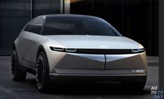 Hyundai's all-electric concept car, unveiled at the Frankfurt Motor Show, is a retro-futuristic stunner that harkens back to the automaker's first foray into mass-produced vehicles over four decades ago. Hyundai Veloster, Electric Car Concept, Electric Cars, Electric Vehicle, Bmw X6, Porsche, Audi, Volkswagen, Citroen C3
