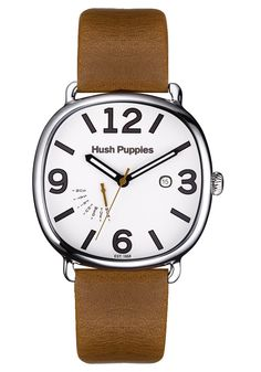Hush Puppies Orbz Men's Automatic Watch with White Dial Analogue Display and Brown Leather Strap HP.7102M.2501: Amazon.co.uk: Watches
