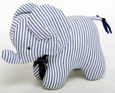 Navy & White Stripe Elephant