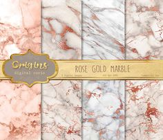 Rose Gold Marble Digital Paper pink and by OriginsDigitalCurio
