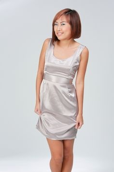 """Satin Cocktail Dress by Alice.    Curiously shiny satin dress perfect for the year end parties, dinners, and festivities!    Available in limited quantity.    Satin, with inner lining.    Measurements:    S: 16.5"""" PTP, 12.75"""" Waist, 17.5"""" Hips, 33.5"""" Down.  M: 17.5"""" PTP, 13.5"""" Waist, 18.5"""" Hips, 33.5"""" Down.    Model is 162cm/UK8, wears Alice size """"M"""".    * Size runs smaller for this item. #satin #dress #cocktail #party $58"""