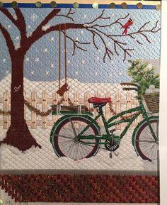 winter bicycle needlepoint