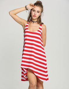 Womens Girl Casual Stripe Irregular Beach Dress Sleeveless Sundress