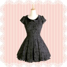 Fully lined dress with sleek front design and laced velvet Peter Pan collar; three layers of Rococo inspired romantic chiffon frilly bustles at the back.   Jacquard fabric adds subtle elegance to the dress, suitable for both day and night occasions.  ♥︎ Material  80% Polyester, 20% wool  ♥...