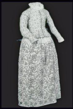 A rare woman's skirt made from fustian, a mix of linen and cotton, and embroidered with large floral patterns. - Production Date: 1621-1640 - ID no: 59.77b - Museum of London