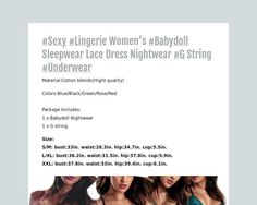 #Sexy #Lingerie Womens #Babydoll Sleepwear Lace Dress...