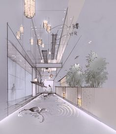 The perspective of this room makes it feel more spacious. The perspective of this room makes it feel Collage Architecture, Architecture Drawing Sketchbooks, Architecture Concept Drawings, Architecture Visualization, Architecture Design, Interior Design Renderings, Drawing Interior, Interior Rendering, Interior Sketch