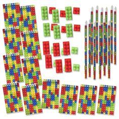 Kid Fun Block Brick Toy Party Favor Supplies Set for 12 Bundle 66 Pieces Mask Puzzle Bracelet