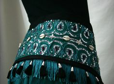 Teal Indian Patchwork Tribal  Belly Dance Belt with by JujuBart, $55.00