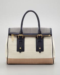 Belstaff Dorchester 36 Woven Leather Satchel Bag, Bone/Navy