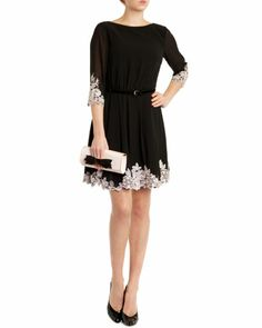 edf3a4db70372b FEAY - Embroidered dress - Black