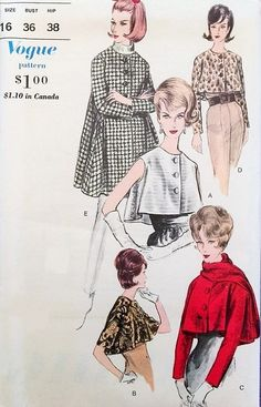 1960s Elegant Jacket and Topper Pattern Vogue 5760 Short or Long Flared Jacket or Topper 5 Style Versions Bust 36 Vintage Sewing Patterns FACTORY FOLDED