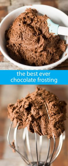 Best Chocolate Frosting Recipe {The Fudgiest, Creamiest, Chocolate Buttercream} homemade buttercream / from scratch chocolate frosting via /tastesoflizzyt/ (Chocolate Frosting Easy) Mini Desserts, Chocolate Desserts, Just Desserts, Delicious Desserts, Dessert Recipes, Baking Recipes, Chocolate Chocolate, Chocolate Cupcakes, Chocolate Fondant