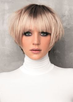 Short bob paired with a turtleneck