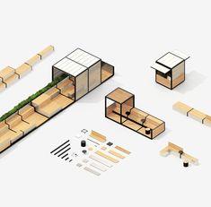 Photo by Etienne Vernier on behance · · · Stations on Behance Module Architecture, Villa Architecture, Architecture Graphics, Concept Architecture, Architecture Diagrams, Architecture Portfolio, Bühnen Design, Kiosk Design, Cafe Design