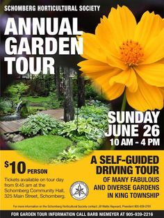 Schomberg Horticultual Society's annual garden tour is Sunday June Tour Tickets, Family Events, Romantic Getaways, Main Street, June, Sunday, Community, Horses, Country