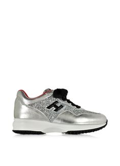 Hogan+Hogan+Club+Silver+Leather+and+Glitter+Wedge+Sneakers